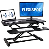 FLEXISPOT 32 inch Standing Desk Converter | Height Adjustable Stand Up Desk Riser, Black Home Office Desk Workstation for Dua