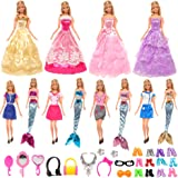 Barwa 62 Accessories for Barbie: 4 Fashion Dresses + 4 Wedding Dresses + 4 Mermaid Swimsuits + 10 PCS Shoes + 40 Accessories