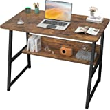 """Computer Desks for Home Office 32"""" Modern Sturdy Writing Desk with Bookshelf Study Table Desk with Metal Legs Industrial Tiny"""