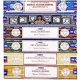 Satya - Set of 6 - Nag Champa, Super Hit,Path Breaker,Soul Searcher, Sandalwood, Californian White Sage 15 Grams