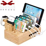 Bamboo USB Charging Station for Multiple Devices with iWatch & Airpod Charger Stand and Fitbit Family Charger Stand | Fast Ch