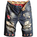 Huphoon Men's Casual Loose Broken Hole Stitching Drape Denim Shorts