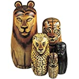 Bits and Pieces - Wild Cats - Matryoshka Dolls - Wooden Russian Nesting Dolls -- Jungle Cat Figurines - Stacking Doll Set of