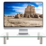 WALI Tempered Glass Monitor Riser Desktop Stand Height Adjustable Table Top for Flat Screen LCD LED TV, Laptop, Notebook, Dis