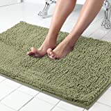 ITSOFT Non-Slip Shaggy Chenille Soft Microfibers Bathroom Rug with Water Absorbent, Machine Washable, 21 x 34 Inch Sage Green