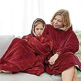 Blanket Sweatshirt Hoodie Ultra Plush Blanket Hoodie Soft&Warm (RED)