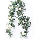 Fixinus 6头 造花 バラ 花藤 薔薇 ばら バラ シルク ユーカリ ガーランド 人工観葉植物 アーティフィシャルフラワー 花園 婚礼の儀式 フェイクグリーン リアル 壁掛け ハンギング 吊す 装飾資材