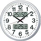 セイコー クロック 掛け時計 電波 アナログ カレンダー 温度 湿度 表示 銀色 メタリック KX237S SEIKO