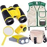 INNOCHEER Outdoor Explorer Kit with Vest & Crossbody Bag, Children Adventure Paleontologist Costume Set with Binocular, Magni