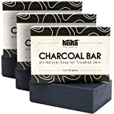 Keika Naturals Charcoal Black Soap Bar for Acne, Eczema, Psoriasis, Face, Body, Men Women Teens with Oily Skin, 5 oz. (Charco