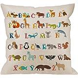 HGOD DESIGNS Alphabet Pillow Cover,Decorative Throw Pillow Alphabet Cute Zoo with Animals Pillow Cases Cotton Linen Outdoor I