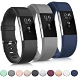 Pack 3 Replacement Bands Compatible for Fitbit Charge 2 Bands, Adjustable Accessory Soft Silicone Sport Wristband for Women M