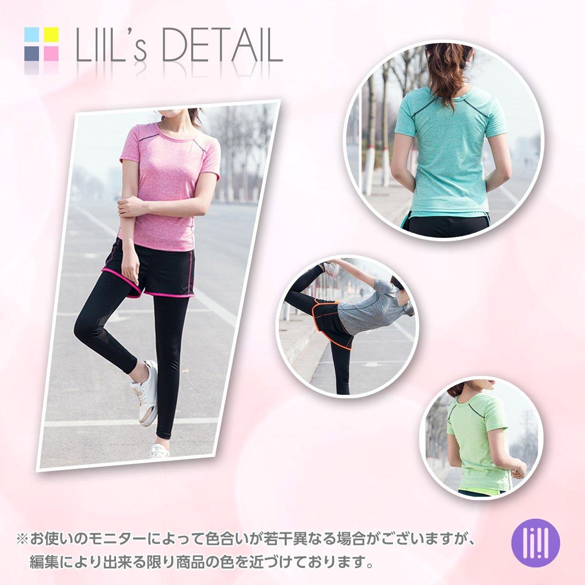 (リール) LIIL スポーツ トレーニング ヨガ ウェア レディース 5色 上下 パンツ 半袖 セット アップ