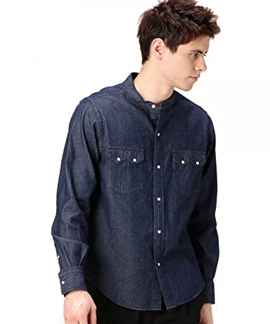 Denim Band Collar Western Shirt 1211-163-6621: Navy