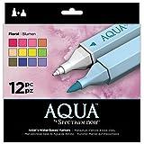 Spectrum Noir Aqua Artist's Water Based Dual Nib Marker Colouring Pens, Floral, Pack of 12, 19 x 18.4 x 2.1 cm