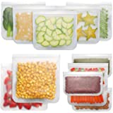 Bayco Reusable Storage Bags (12 Pack) 2 Gallon & 5 Sandwich Lunch Bags & 5 Small Kids Snack Bags For Food, EXTRA THICK Reusab