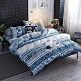 HYPREST Bohemian Queen Duvet Cover Set Lightweight Soft Triangle 3PC Comforter Cover Set Hotel Quality, Microfiber, Bluewave,