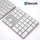 ワイヤレス Bluetooth 34キーのスマート テンキー/数字キーッパッド アルミ合金+ ABS製 MacsとPCs向けのデザイン 1000万回高耐久 充電式 銀色