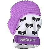 Munch Mitt Purple Bows Teething Mitten for 3-12 Months Baby, Purple (MM10PB)