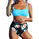 CUPSHE Women's High Waisted Blue Floral Wide Straps Bikini Swimsuit Sets