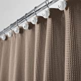 mDesign Long Polyester/Cotton Blend Fabric Shower Curtain with Waffle Weave and Rustproof Metal Grommets for Bathroom Showers