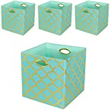 Posprica Collapsible Storage Cubes Organizer Basket Bins Containers Drawers for Toy,Clothes,Laundry (13''/4pcs, Aqua Lantern