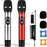 Wireless Microphones - Dual Handheld UHF Portable Dynamic Mic System with Rechargeable Receiver, MIMIDI Karaoke Microphone fo