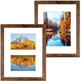DBWIN 11x14 Picture Frame Rustic Brown Wood Pattern Photo Frame Real Glass Front 2 Pack,Each Frame with 2 Mats,Display 8x10 o
