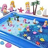 AINOLWAY Mermaid Water Beads Sensory Bin Kit Toys for Girls-Include 20000pcs Sea Water Beads/Beach/Shell/Starfish/Mermaid/Sai