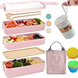 Bento Box Japanese Lunch Box Kit (11 PCS) 3-In-1 Compartment, Leak-proof Bento Lunch Box Meal Prep Containers with Utensils,