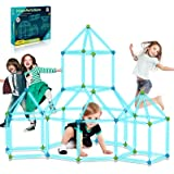 9IUoom Fort Building Kit for Kids 120 Pieces Glow in The Dark Air Forts Builder Gift Construction Toys for 3 4 5 6 7 8 9+ Yea