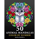 50 Animal Mandalas: Color by Number Coloring Book for Adults features Floral Mandalas, Geometric Patterns, Swirls, Wreath, Wi