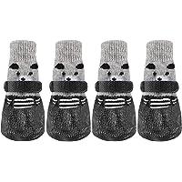 ルナリ 犬用ソックス 靴下 犬用 滑り止め マジックテープ付き 熊 4個セット (S, ブラック)