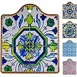 Ceramic Cork Trivets for Hot Pots and Pans, VIDAYA Vintage Ethnic Floral Mandala Waterproof Pot Holders with Cork Base Hot Pl