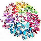 ElecMotive 72 Pcs 6 Packs Beautiful 3D Butterfly Wall Decals Removable DIY Home Decorations Art Decor Wall Stickers & Murals