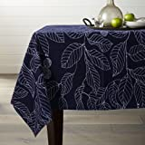 (150cm x 260cm, Blue Leaves) - Lamberia Tablecloth Heavyweight Vintage Burlap Cotton Tablecloths for Rectangle/Oblong/Oval Ta