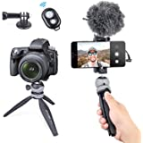 Mini Tripod Phone Tabletop Tripod Hidden Cold Shoe Mount with Wireless Remote Shutter and Sport Camera Adapter Compatible wit