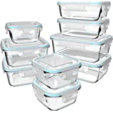 Glass Food Storage Containers with Lids - Glass Containers with Lids for Food - Reusable Bento Box Glass Lunch Containers wit