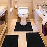 IM Home Striped Black Bathroom Rug Set 3 Pieces Extra Soft, Non Slip Chenille Bath Rugs Machine Washable, Absorbent Plush Sha