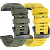 IMAYCC Watch Strap, 26mm Width Soft Silicone Replacement, Breathable Sport Wristband for Garmin Fenix 6X/6X Pro, Fenix 5X/5X