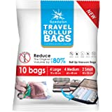 Travel Roll Up Bags - Pack of 10 (4 Large + 4 Medium + 2 Small) | Roll-Up Compression Storage | Double Zipper, Reusable Space