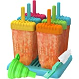 Ozera Popsicle Molds, Reusable Popsicle Molds Ice Pop Molds Maker - Set of 6 - With Silicone Funnel & Cleaning Brush - Assort