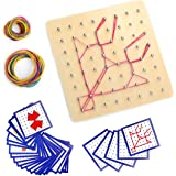Montessori Wooden Geoboard Mathematical Manipulative Material Array Block Geo Board with 24Pcs Pattern Cards and Rubber Bands