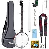 Kmise 5 String Banjo Professional Two-way Truss Rod Banjos Starter Kit With Bag Tuner Strap Strings Picks Ruler Wrench Bridge