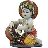 "Ebros Hindu God Baby Krishna Vishnu Stealing Butter Yogurt and Milk from The Gopis Statue 4.25"" High Eastern Enlightenment Hi"