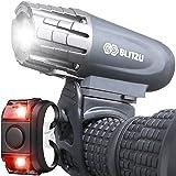 Blitzu Gator 320 USB Rechargeable Bike Light Set Powerful Lumens Bicycle Headlight Free Tail Light LED Front and Back Rear Li