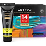 ARTEZA Acrylic Paint, Set 14 Colors/Pouches (120 Ml/4.06 Oz.) with Storage Box, Rich Pigments, Non Fading, Non Toxic Paints f