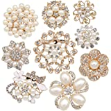 Lot 9pcs Rose Gold-tone Rhinestone brooches, eGlomart Big Pe