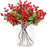 Funarty 15 Pack Christmas Red Berries Stems with Leaves for Winter Craft Holiday Home Decor Christmas Ornaments