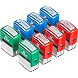 Teacher Stamps - Self Inking Stamp Set of 8 Refillable Colorful Motivation Stamps for Teachers - Correct & Return Teacher Sta